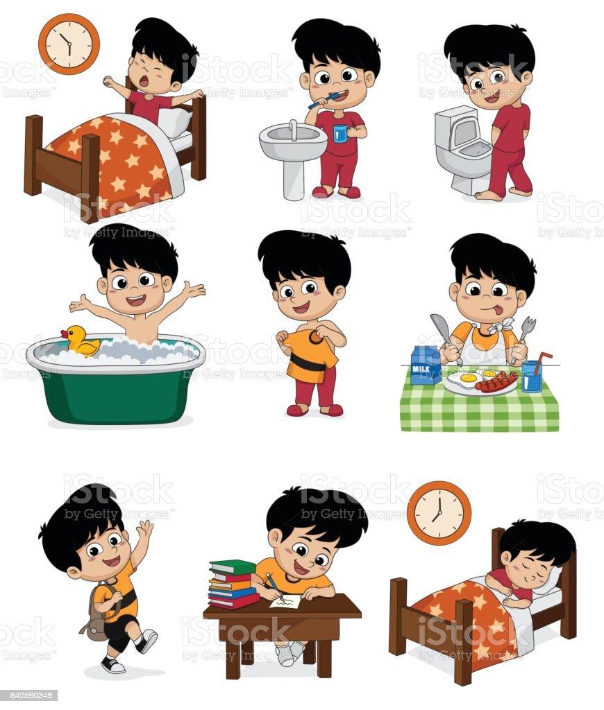 Reihe von täglichen süsser Boy. Junge aufwachen, Zähneputzen, Kind pinkeln, Baden, verkleidet, Frühstück, Kinder lernen, Kind schlafen. – Vektorgrafik