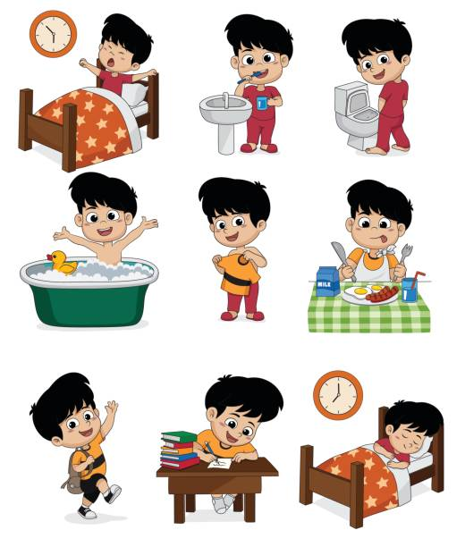 Set of daily cute boy.Boy wake up,brushing teeth,kid pee,taking a bath,dressed up,breakfast,kid learning,kid sleep. vector art illustration