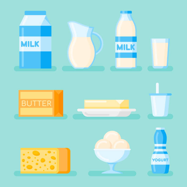 Set of dairy products flat style icon isolated on background vector art illustration