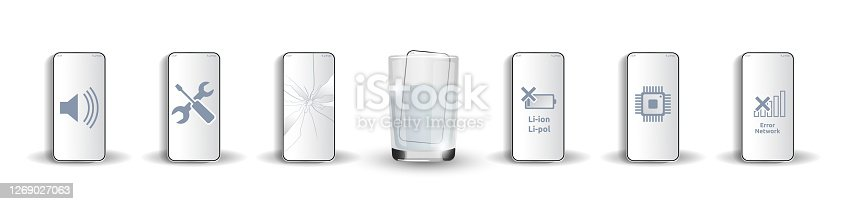 istock Set of damaged mobile phones: soaked in water, with broken screen, with dead battery, does not catch mobile network, chip is damaged, sound does not work Isolated for server companies 3d realism Glass 1269027063