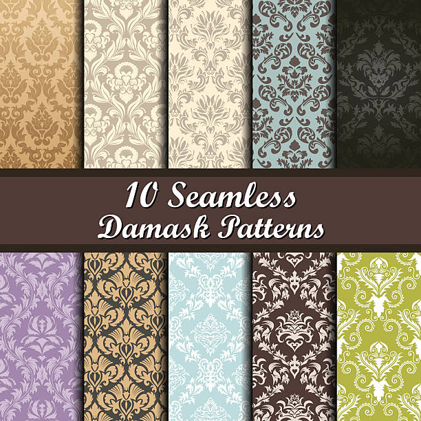 Set of  Damask Seamless Patterns vector art illustration