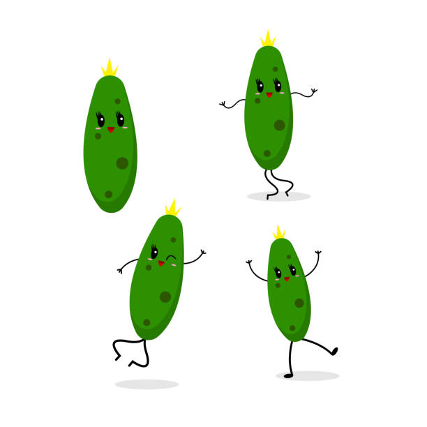 set of dancing cucumbers on a white background vector art illustration
