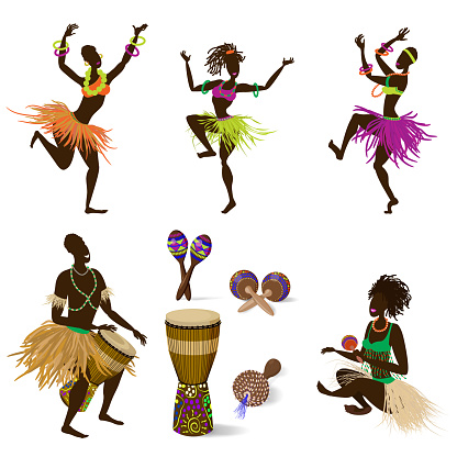 A set of dancing figures of people and African ethnic musical instruments, a Jumbo drum and various maracas. Vector illustration in cartoon style, isolated on a white background.