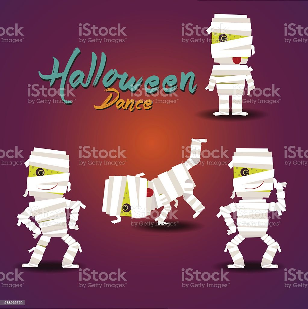Set of dancing mummy, Halloween vector art illustration