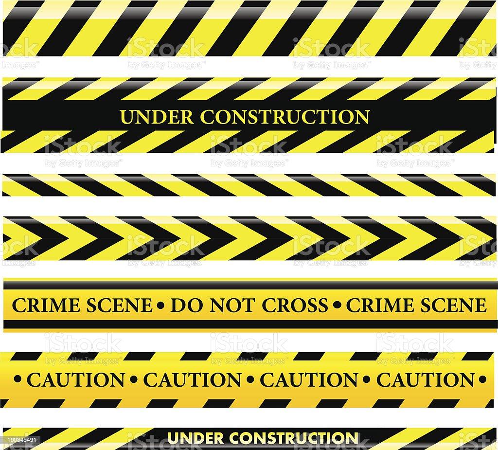 Set of danger and police lines vector art illustration