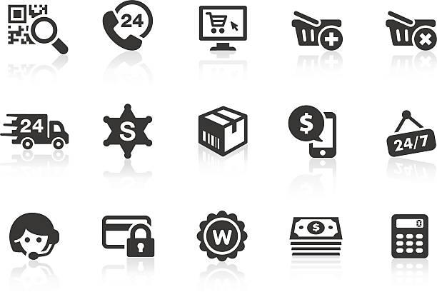bildbanksillustrationer, clip art samt tecknat material och ikoner med set of dark gray e-commerce icons - on demand