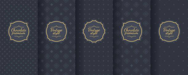 illustrazioni stock, clip art, cartoni animati e icone di tendenza di set of dark vintage seamless backgrounds for luxury packaging design. - mascolinità