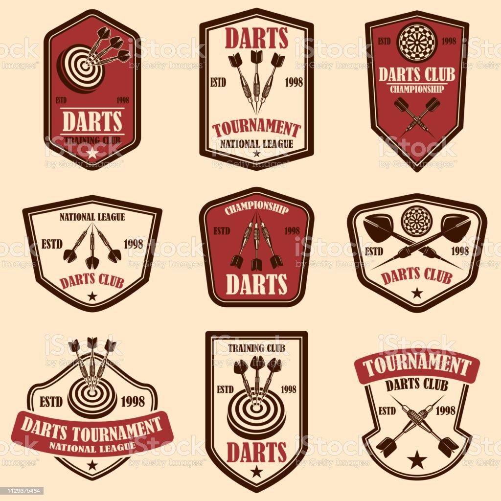 Set of darts club label templates. Design element for label, sign,...