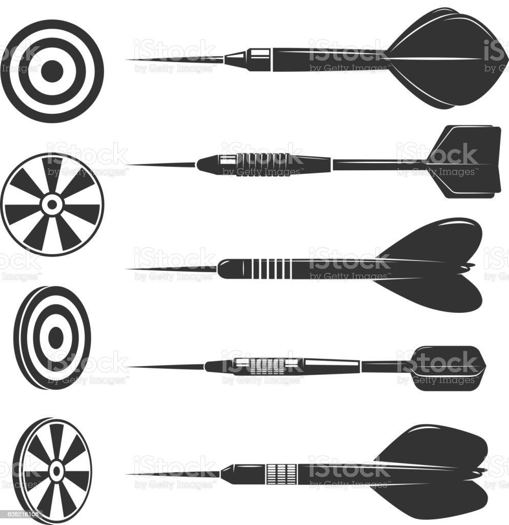 Set of darts for darts game. vector art illustration