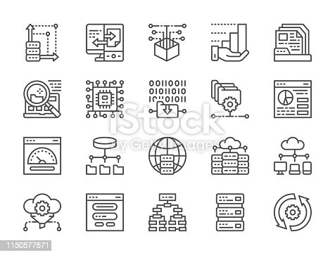 Set of data analysis and cloud computing line icons. Network hosting, program algorithm, database, ftp server, file setting, microprocessor, computer chip, open source, synchronization and more.