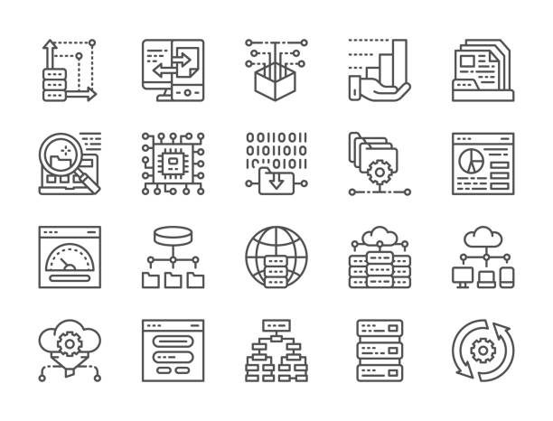 Set of data analysis and cloud computing line icons. Network hosting, program algorithm, database, ftp server,  synchronization and more. Set of data analysis and cloud computing line icons. Network hosting, program algorithm, database, ftp server, file setting, microprocessor, computer chip, open source, synchronization and more. receiving stock illustrations