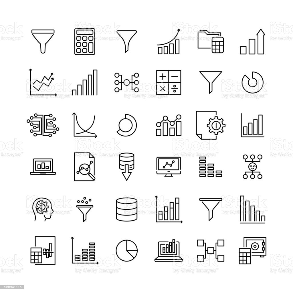 Set of data analytics thin line icons. vector art illustration