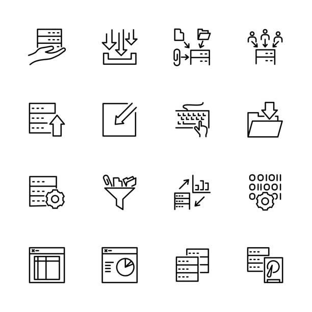 stockillustraties, clipart, cartoons en iconen met verzameling gegevensverwerkingsactiviteitsregel - oppakken