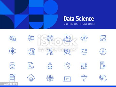 Set of Data Science and Data Analysis Related Line Icons. Editable Stroke. Simple Outline Icons.