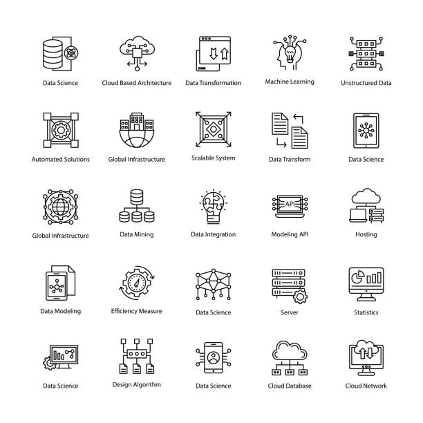 Set of Data Science Line Vector Icons This Data Science Vector Icon set contains processes and systems to extract knowledge or insights from data in various forms areas. Variety of icons include predictive analytics, data mining, data analysis, statistics and algorithms, data transformation, data security, data mining and much more for creative designers. machine learning stock illustrations