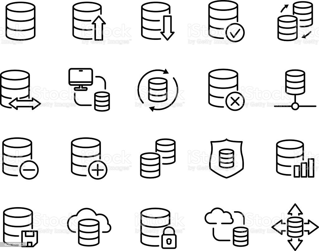 Set of database icons in modern thin line style. vector art illustration