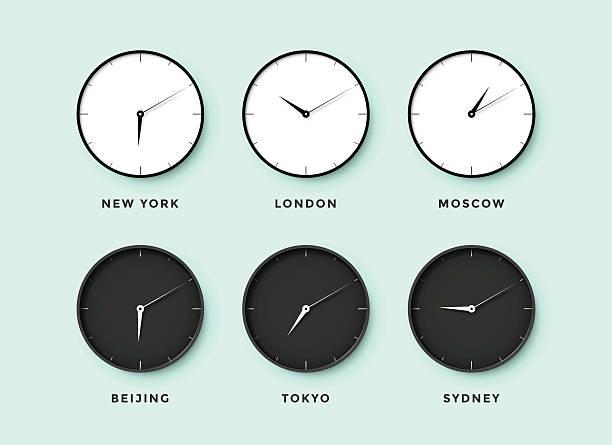 bildbanksillustrationer, clip art samt tecknat material och ikoner med set of day and night clock for time zones different - tidszon
