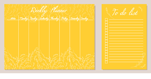Set of day organization templates with doodle flowers and herbs. Weekly planner and to do list. Vector yellow cards with natural pattern.