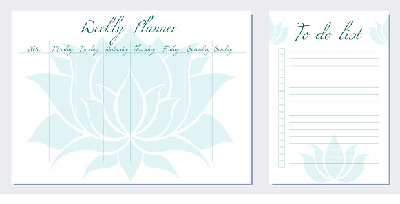 Set of day organization templates with silhouette ofl lotus. Weekly planner and to do list. Stylization of blue water lily. Spirituality template setting tasks