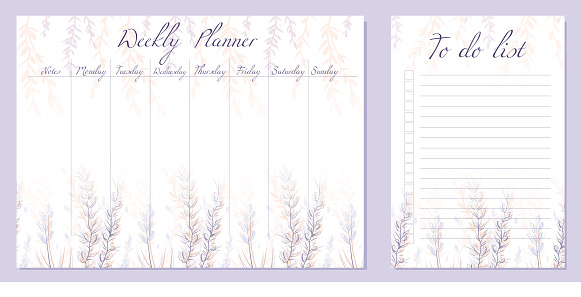 Set of day organization templates with sketch flowers and  and herbs. Weekly planner and to do list. Vector cards with natural rustic pattern. Setting tasks