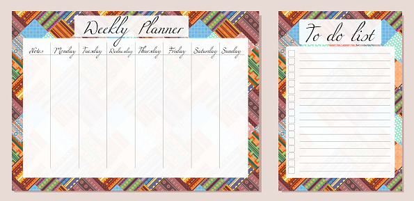 Set of day organization templates with tribal cozy pattern. Weekly planner and to do list. Background of blanket with folk decoration. Vector setting tasks