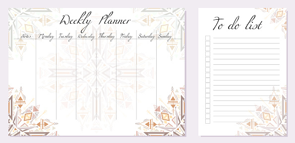 Set of day organization templates with tribal mandala. Weekly planner and to do list. Geometric boho decorations. Spirituality template setting tasks