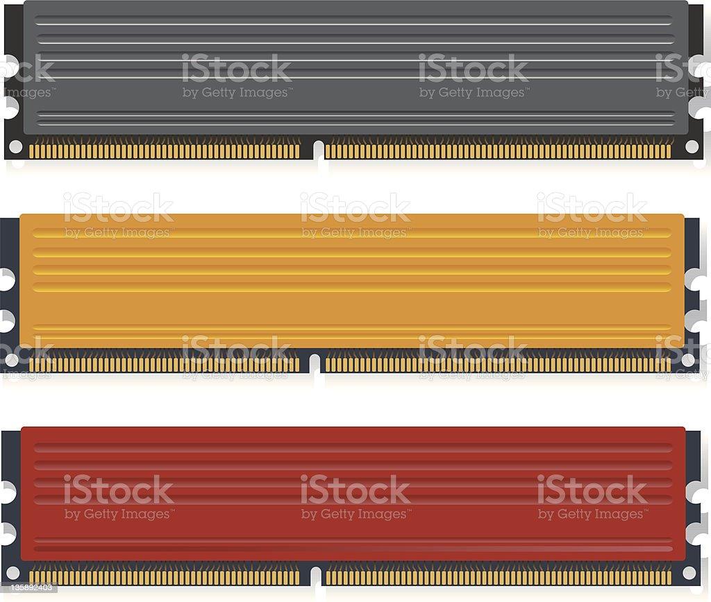 Set of DDR3 memory modules vector art illustration