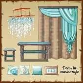 Set of decor and furniture in a nautical style, blue and beige tones