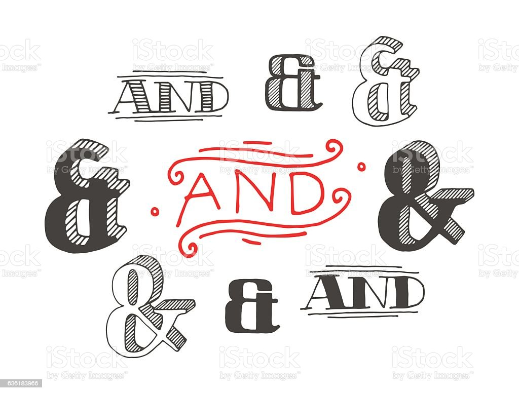 Set of decoration ampersands for letters and invitation vector art illustration