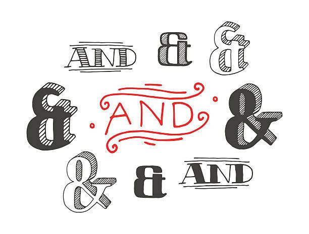 Set of decoration ampersands for letters and invitation vector art illustration
