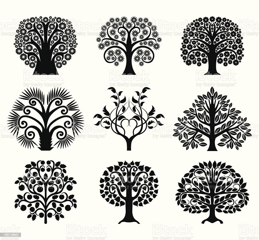 Set of decoration trees vector art illustration