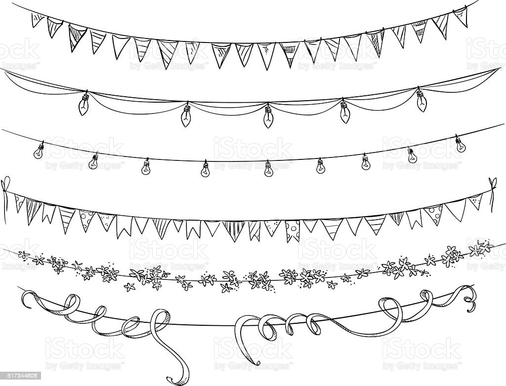 String Lights Doodle : Set Of Decorations Flags And Lights Vector Sketch stock vector art 517344606 iStock
