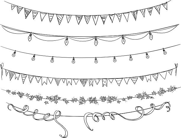 set of decorations. flags and lights. vector sketch. - light through trees stock illustrations