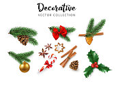 Set of decorative 3d elements, green realistic fir branches, cone, Christmas ball, cinnamon, candy, holly berries isolated on white background for Christmas and New Year holiday design. Vector illustration.