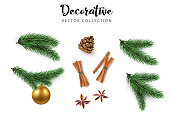 Set of decorative 3d elements, green realistic fir branches, cone, Christmas ball, cinnamon isolated on white background for Christmas and New Year holiday design. Vector illustration.