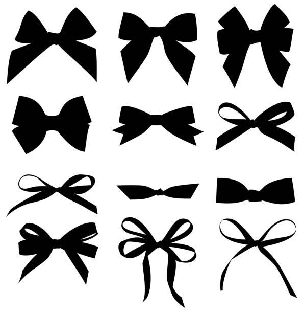 ilustrações de stock, clip art, desenhos animados e ícones de set of decorative black bow silhouette. - laço nó