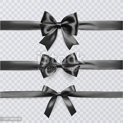 Set of decorative black bows with horizontal ribbon isolated on transparent background, bow and ribbon for gift decor, vector eps 10 illustration