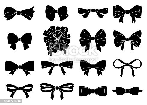 Set of decorative bow for your design. Vector bow silhouette isolated on white.