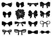 あなたの設計の装飾的な弓のセットです。白で隔離ベクトル弓のシルエット