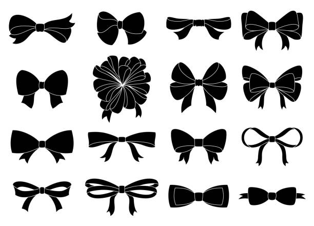 set of decorative bow for your design. vector bow silhouette isolated on white - kokarda stock illustrations
