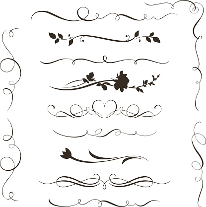 Set of decorative calligraphic elements, floral dividers and flower silhouettes for your design