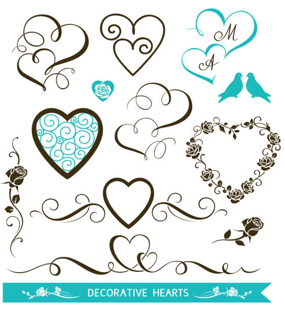 Set of decorative calligraphic hearts for wedding invitation design. Valentine's Day love hearts and floral elements Vector illustration wedding invitation stock illustrations
