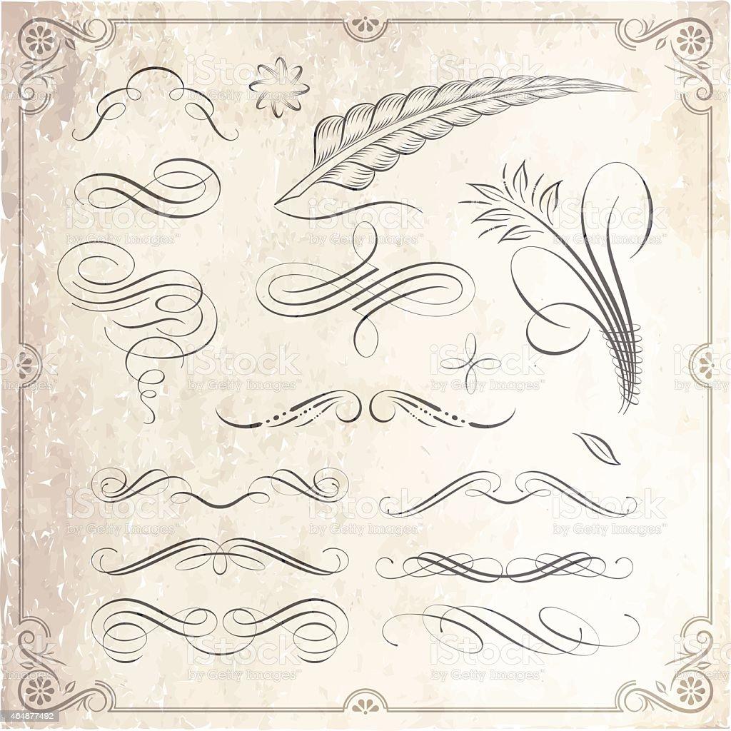 Set of decorative calligraphy designs stock vector art