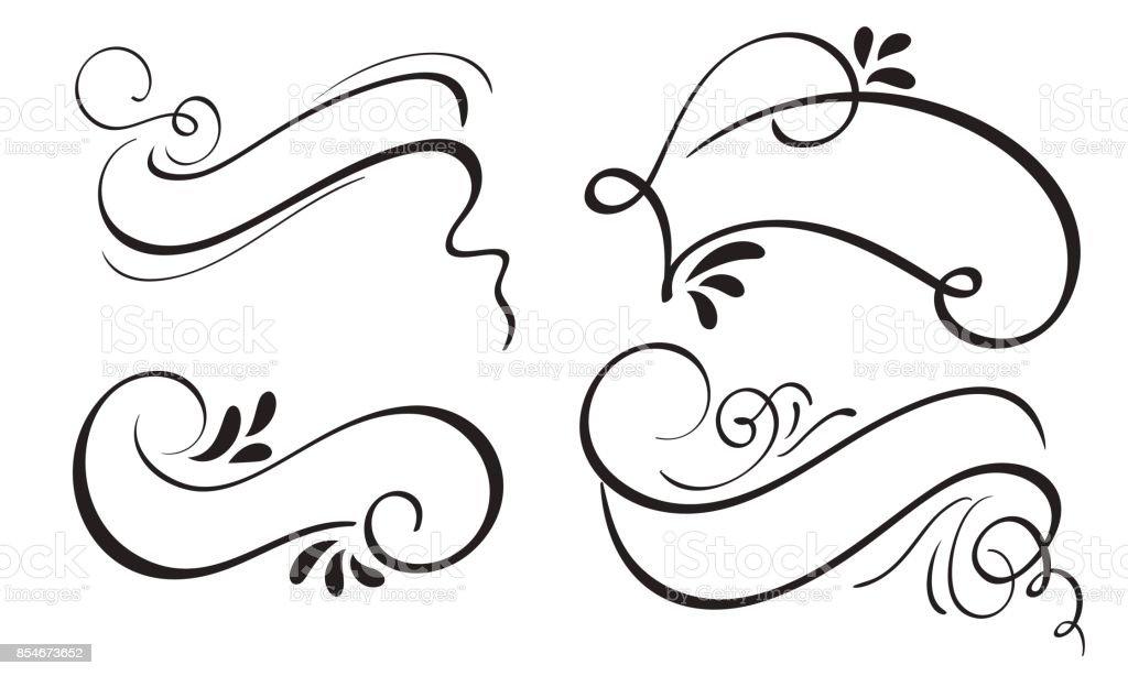 Uppsättning av dekorativa kalligrafi menyfliksområdet ram banner och gränser konst. bokstäver vektorillustration EPS10 vektorkonstillustration