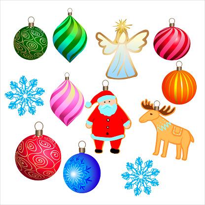 Set of decorative Christmas toys. Santa Claus, deer, balls, snowflakes