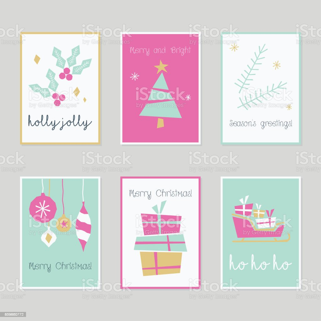 set of decorative christmas winter new year cards in pink mint green