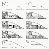 Set of decorative corners. Artistically ethnic pattern.