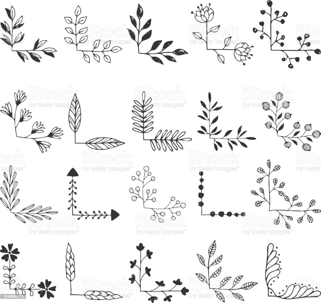 Set Of Decorative Corners Stock Vector Art & More Images ...