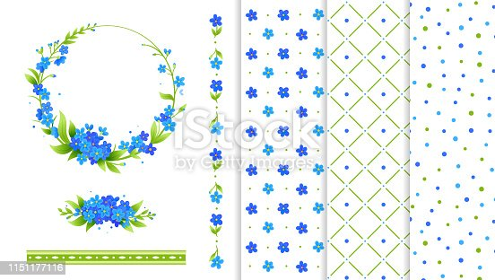 istock Set of decorative elements. Blue flowers wreath, flower border, background seamless patterns. Simple style. Forget me not. 1151177116