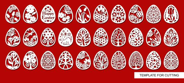Set of decorative elements - Easter Eggs with floral ornament. White objects on blue background. Template for laser cutting, wood carving, paper cut and printing. Vector illustration. decorative laser cut set stock illustrations